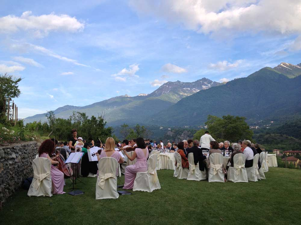 location per matrimoni catering Bon Ton - panorama per la cena placée nei giardini, Villa Vigna Brunetta catering per matrimoni Bon Ton di Pietrini