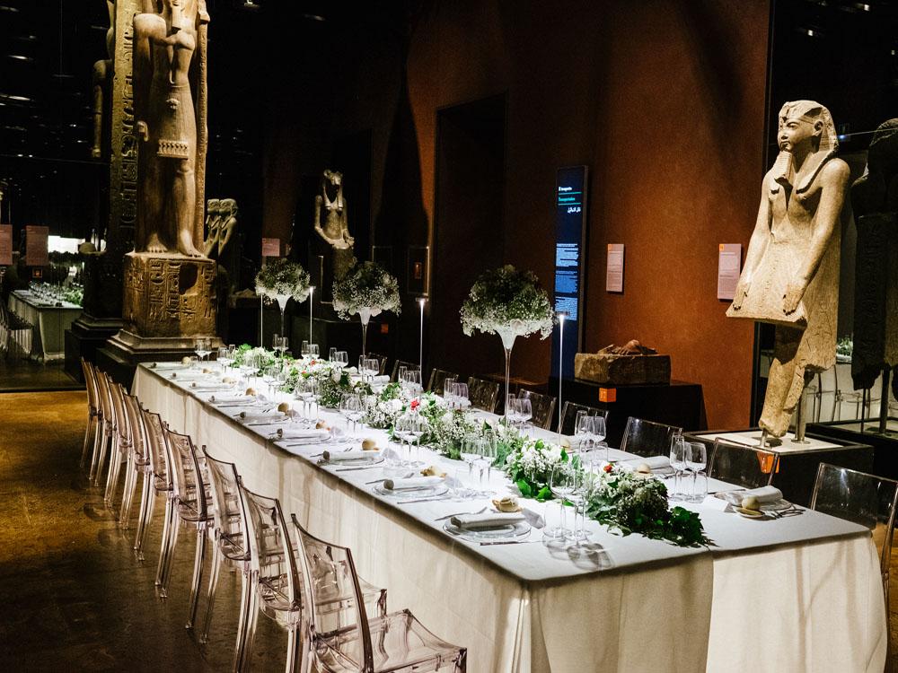 Tavolo Imperiale cena di gala_Bon Ton di Pietrini_Galleria dei Re_Museo Egizio