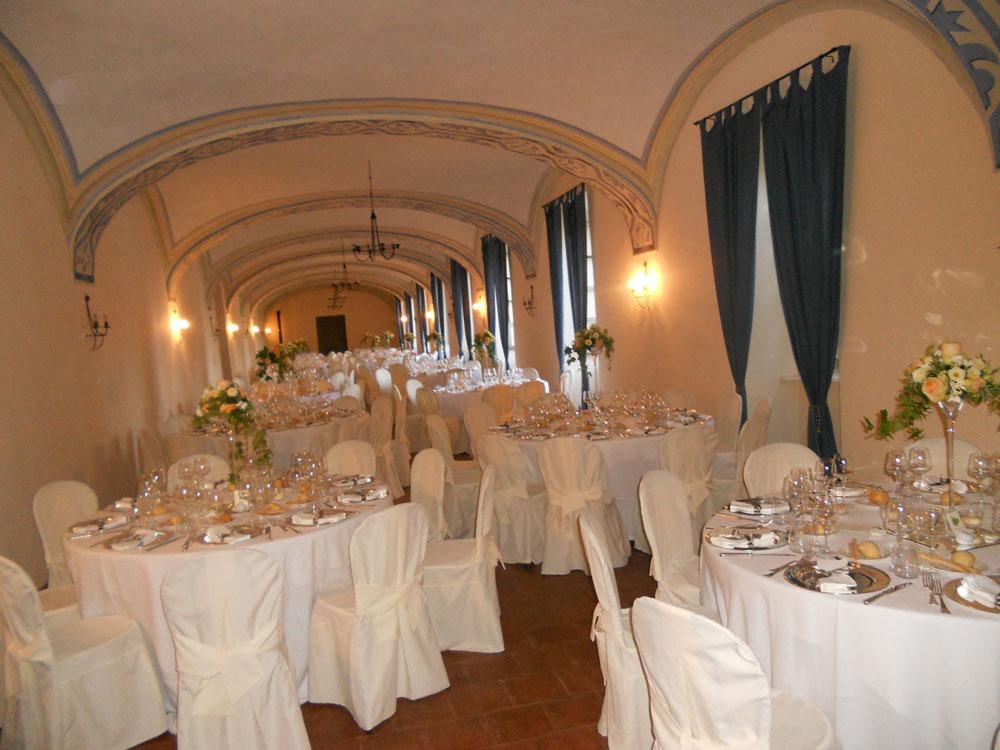 Allestimento per ricevimenti matrimoni al Castello Rivara - catering per eventi Bon Ton di Pietrini
