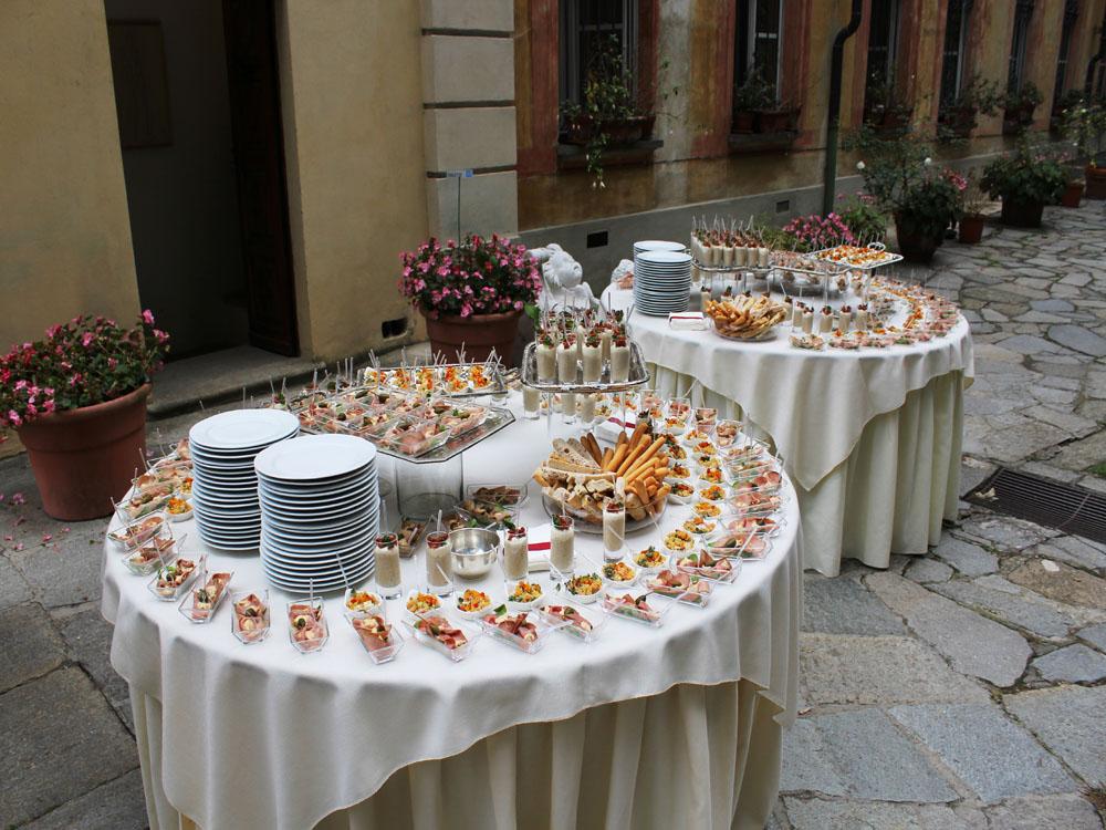 Villa d'Agliè - dettaglio buffet finger food - catering per eventi Torino, Bon Ton di Pietrini