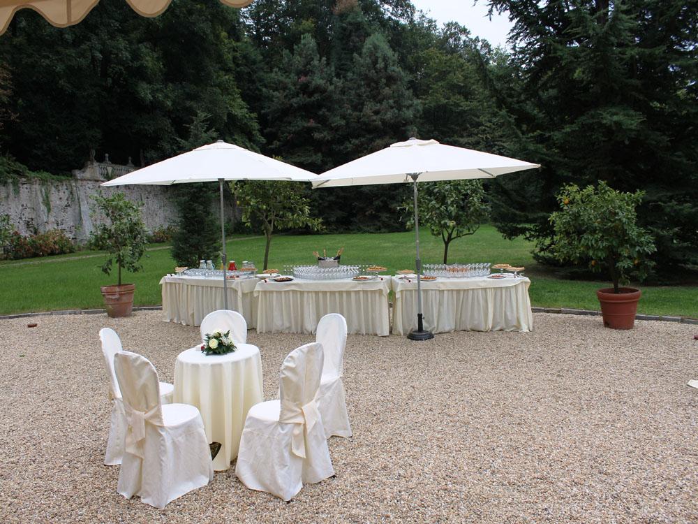 Villa d'Agliè - dettaglio buvette allestimento da esterno - catering per eventi Torino, Bon Ton diPietrini