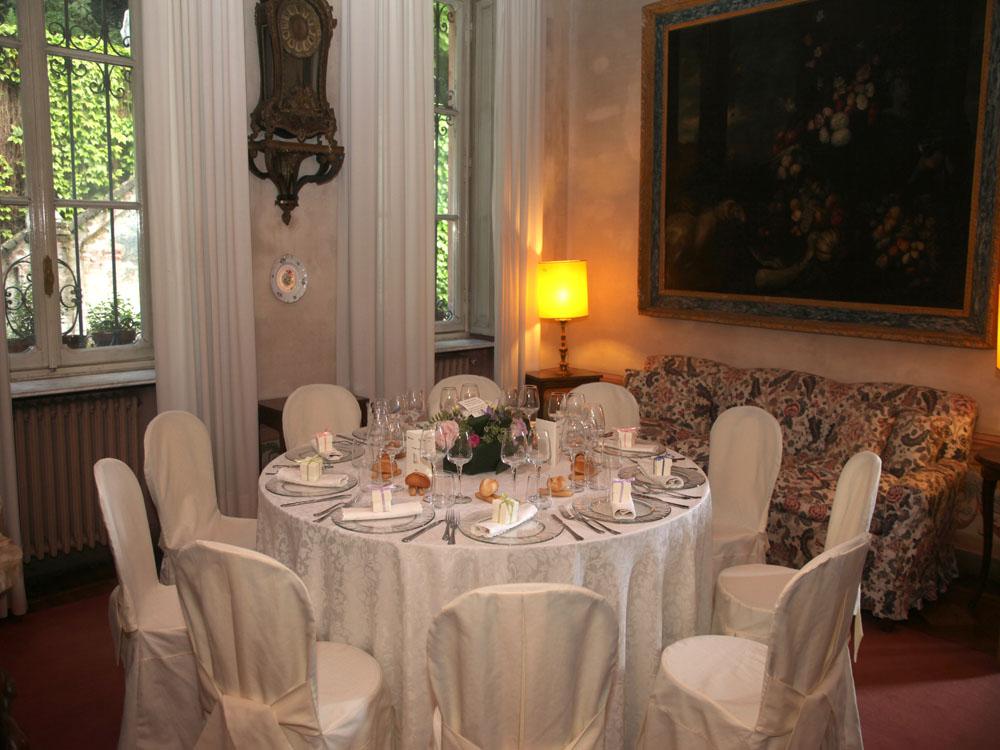Villa d'Agliè - salotto - mise en place cena - Bon Ton Pietrini
