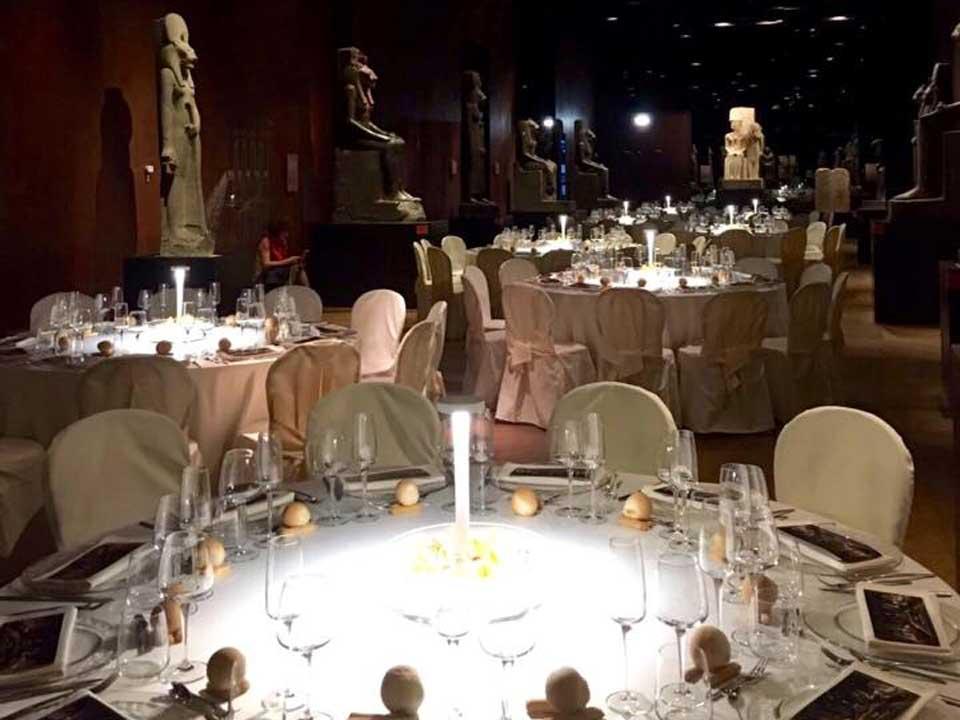 Allestimento per cena al Museo Egizio di Torino - Bon Ton di Pietrini