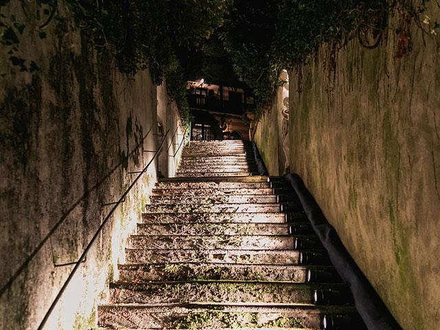 scale esterne illuminate villa franchetti