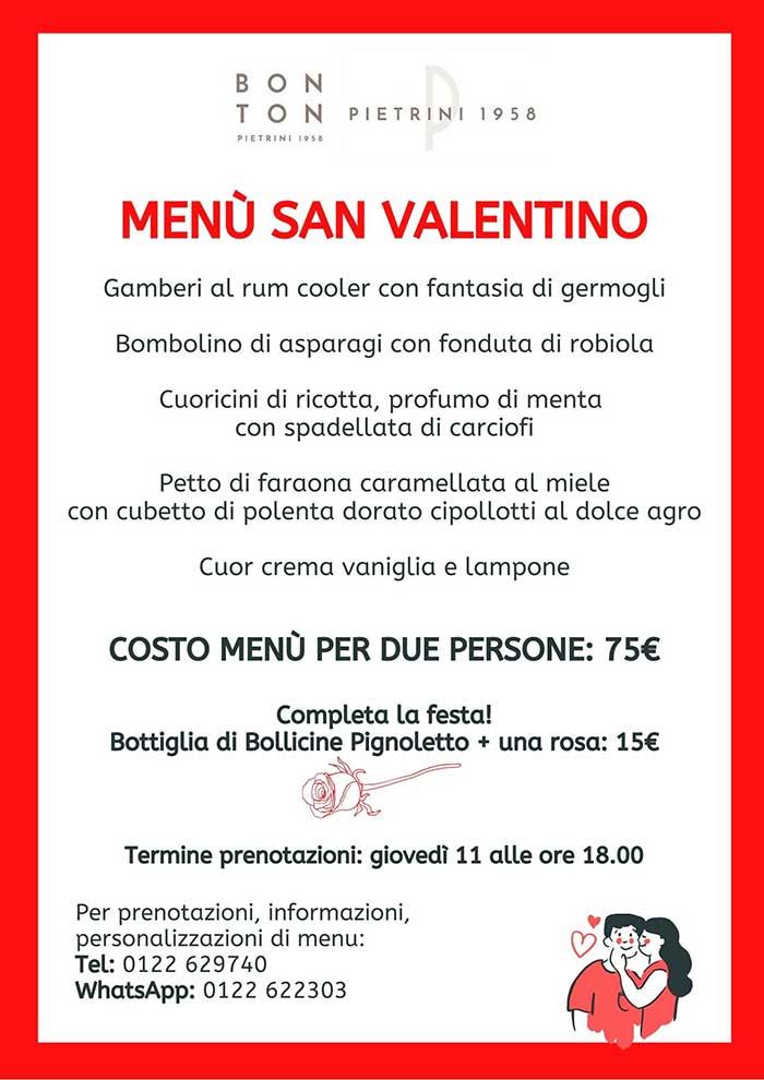 Menù San Valentino - BON TON di Pietrini