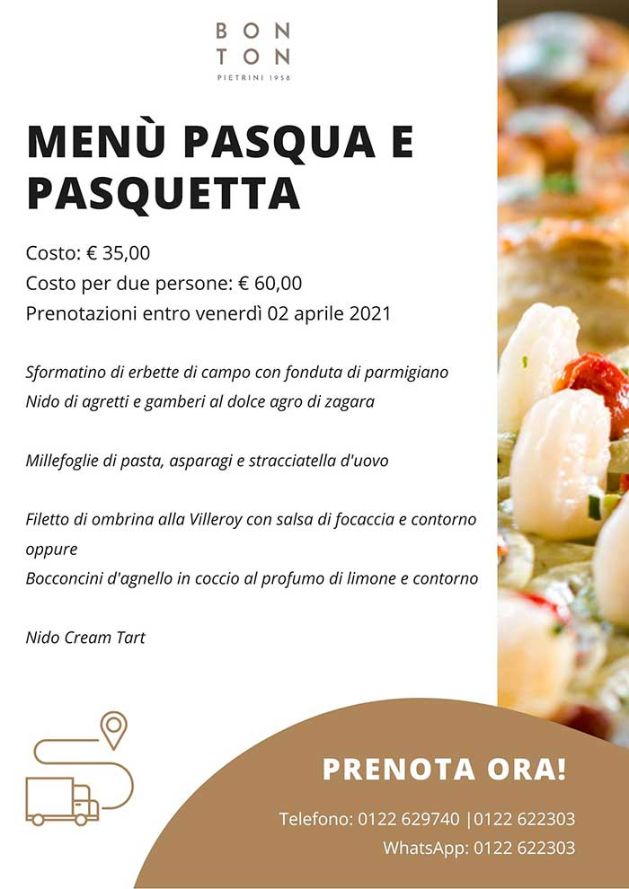 Menù Pasqua e Pasquetta - Delivery BON TON di Pietrini