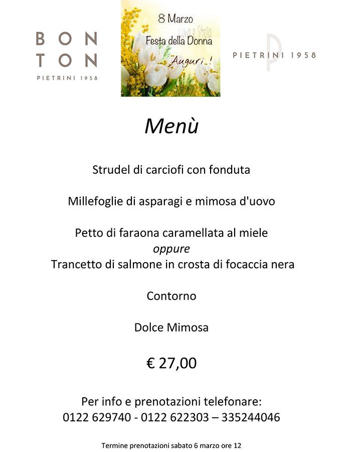 Menù Festa della Donna - delivery BON TON di Pietrini